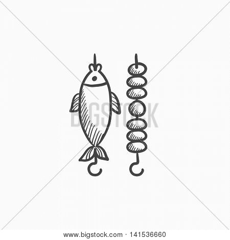 Shish kebab and grilled fish vector sketch icon isolated on background. Hand drawn Shish kebab and grilled fish icon. Shish kebab and grilled fish sketch icon for infographic, website or app.