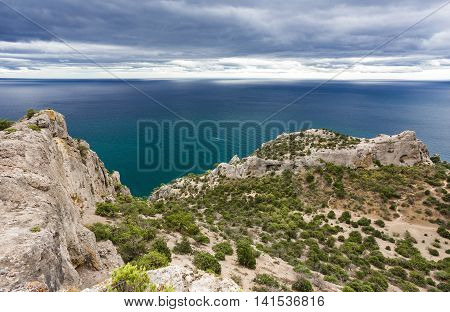 view overlooking the sea and the mountain beach
