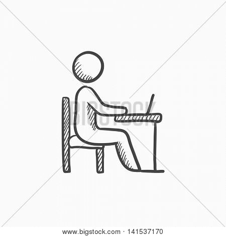 Student sitting on chair in front of laptop vector sketch icon isolated on background. Hand drawn Student working on laptop icon. Student working on laptop sketch icon for infographic, website or app.