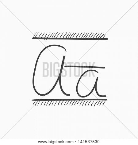 Cursive letter a vector sketch icon isolated on background. Hand drawn Cursive letter a icon. Cursive letter a sketch icon for infographic, website or app.