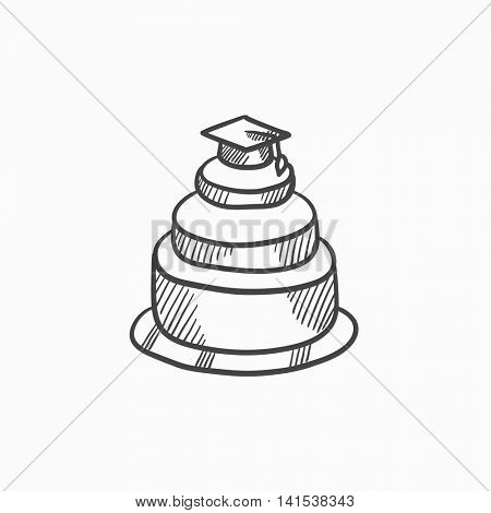 Graduation cap on top of cake vector sketch icon isolated on background. Hand drawn Graduation cap on top of cake icon. Graduation cap on top of cake sketch icon for infographic, website or app.