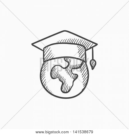 Globe in graduation cap vector sketch icon isolated on background. Hand drawn Globe in graduation cap icon. Globe in graduation cap sketch icon for infographic, website or app.