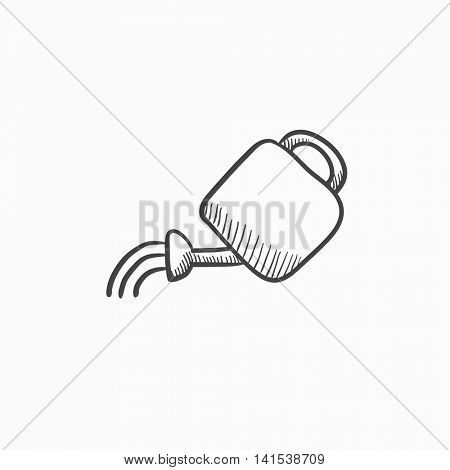 Watering can vector sketch icon isolated on background. Hand drawn Watering can icon. Watering can sketch icon for infographic, website or app.