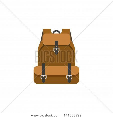 Hiking backpack vector illustration isolated on white background, flat cartoon camping mountain backpack icon