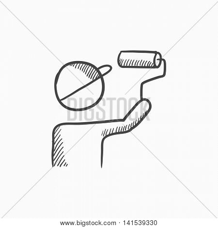 Man painting with roller vector sketch icon isolated on background. Hand drawn Man painting with roller icon. Man painting with roller sketch icon for infographic, website or app.