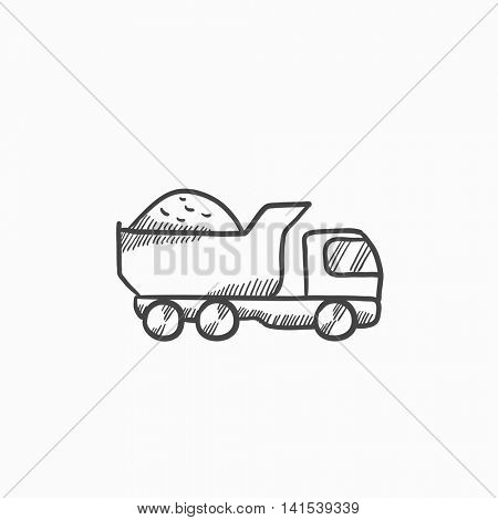 Dump truck vector sketch icon isolated on background. Hand drawn Dump truck icon. Dump truck sketch icon for infographic, website or app.