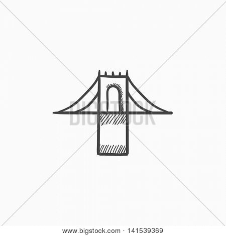 Bridge vector sketch icon isolated on background. Hand drawn Bridge icon. Bridge sketch icon for infographic, website or app.