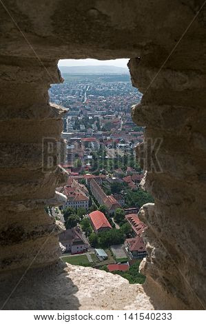 View a part of the city Deva from the ramparts of the old fortress located at height of 371 meters.