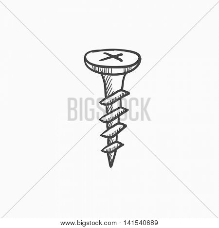 Screw vector sketch icon isolated on background. Hand drawn Screw icon. Screw sketch icon for infographic, website or app.