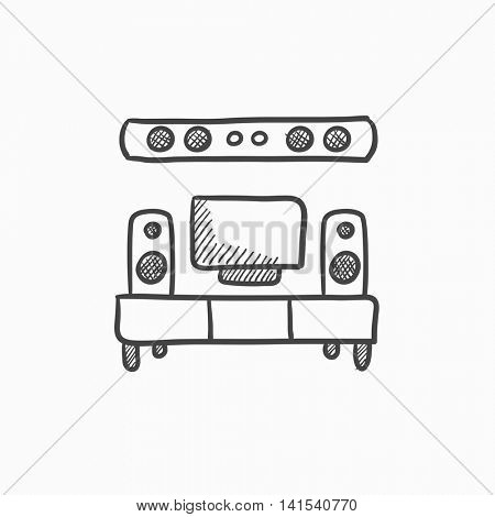 TV flat screen and home theater vector sketch icon isolated on background. Hand drawn TV flat screen and home theater icon. TV flat screen and home theater sketch icon for infographic, website or app.