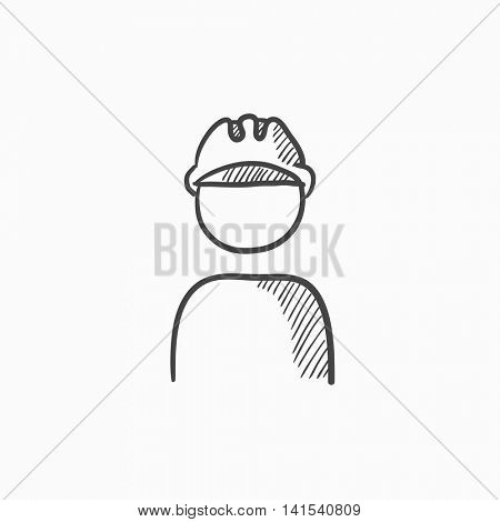 Worker wearing hard hat vector sketch icon isolated on background. Hand drawn Worker wearing hard hat icon. Worker wearing hard hat sketch icon for infographic, website or app.