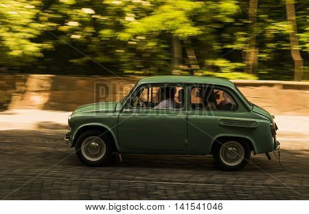 Lviv Ukraine - June 13 2015:Old retro car Zaz -965 taking participation in race Leopolis grand prix 2015 Ukraine.