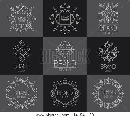 BRAND DESIGN ELEMENT FOR BUSINESS. Line flat icon. Vector set of outline emblems and badges - abstract linear hipster  templates