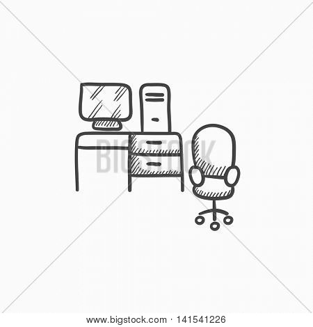 Computer set with table and chair vector sketch icon isolated on background. Hand drawn Computer set with table and chair icon. Computer set with table sketch icon for infographic, website or app.