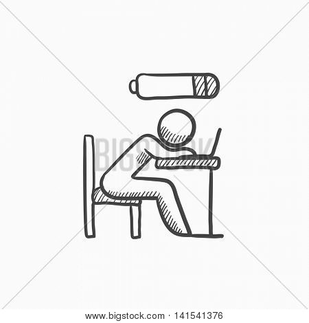 Bsinessman in low power vector sketch icon isolated on background. Hand drawn Bsinessman in low power icon. Bsinessman in low power sketch icon for infographic, website or app.
