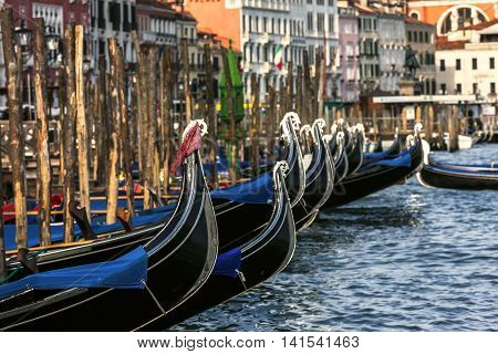 Romantic View Of Gondolas In Venice, Italy