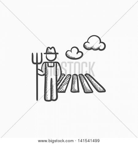 Farmer with pitchfork at field sketch icon for web, mobile and infographics. Hand drawn farmer icon. Farmer vector icon. Farmer icon isolated on white background.