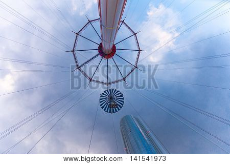 TOKYO JAPAN - 19 JULY 2016 - People enjoy their Flower Sky Ride at Tokyo Dome Amusement Park in Tokyo Japan on July 19 2016