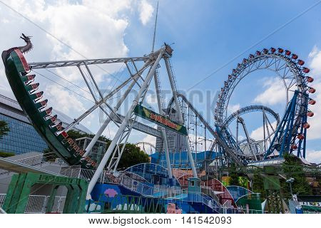 TOKYO JAPAN - 19 April 2016 - Main attraction rides are in operation at Tokyo Dome Tokyo Japan on July 19 2016.