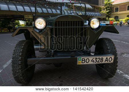 Lviv Ukraine - June 12 2015:Old retro car GAZ - 67 exhibited for participation in festival Leopolis grand prix 2015 Ukraine.
