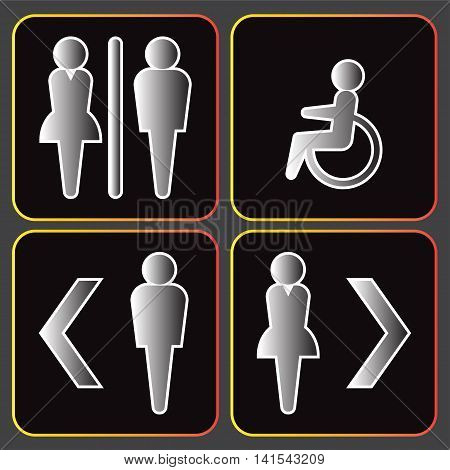Male and female toilet icons set on black background.