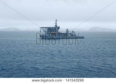 Brazilian Navy's Submarine Rescue Vessel near Maxwell Bay, King George Island, Antarctica