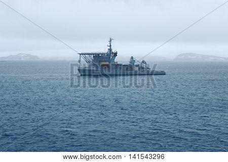 Brazilian Navy's Submarine Rescue Vessel near Maxwell Bay, King George Island, Antarctica