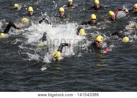 FREDERICIA DENMARK - AUGUST 6 2016: Triathletes on start of the triathlon competition Challenge Denmark in Fredericia harbor canal August 6 2016.