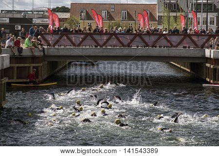 FREDERICIA DENMARK - AUGUST 6 2016: Triathletes just after start of the triathlon competition Challenge Denmark in Fredericia harbor canal August 6 2016.