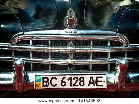 Lviv Ukraine - June 12 2015:Old retro car GAZ - 12 ZIM exhibited for participation in festival Leopolis grand prix 2015 Ukraine.