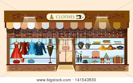 Clothing store showcases fashion shop interior cartoon vector illustration
