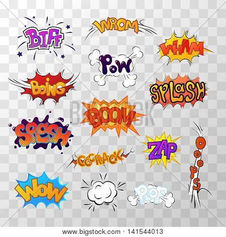 Large set of bright multi colored comic sound effects on transparent background
