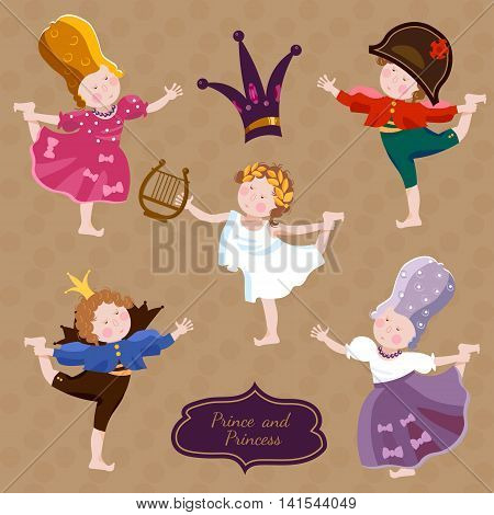Funny kids playing prince and princess children's theater cartoon vector