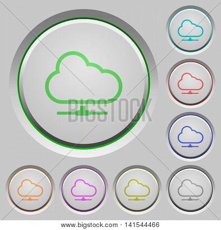 Set of color Cloud network sunk push buttons.