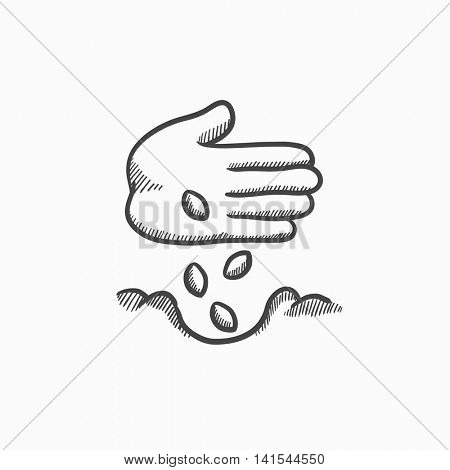 Hand planting seeds in ground vector sketch icon isolated on background. Hand drawn Hand planting seeds in ground icon. Hand planting seeds in ground sketch icon for infographic, website or app.