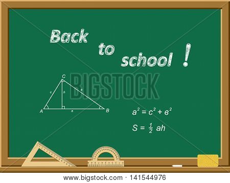 Green school board with an inscription in chalk - Back to school. Triangle theorem Hippocrates. Vector illustration.