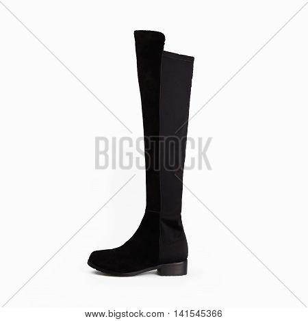 stylish black female boots over white background