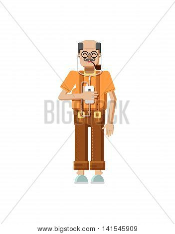 Stock vector illustration isolated European elderly retiree, gray hair, mustache, in glasses, pipe in mouth, old man with smartphone in hand listens music from phone in flat style on white background