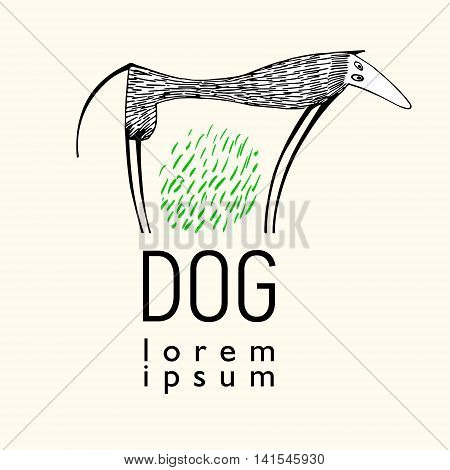 vector illustration with high funny dog. Hand drawn