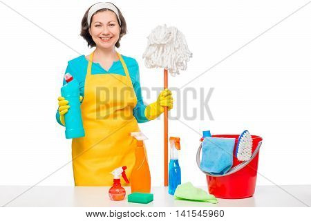 Happy Housewife Cooked Cleaners For Cleaning The House On A White Background