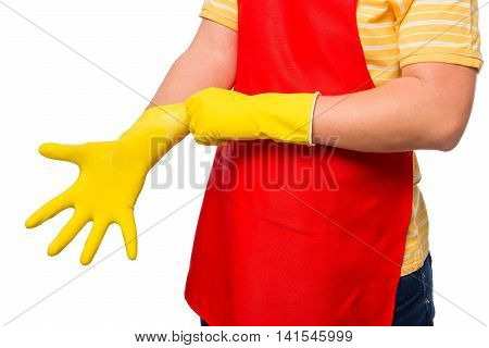 Man Pulls A Rubber Glove On His Hand Close-up