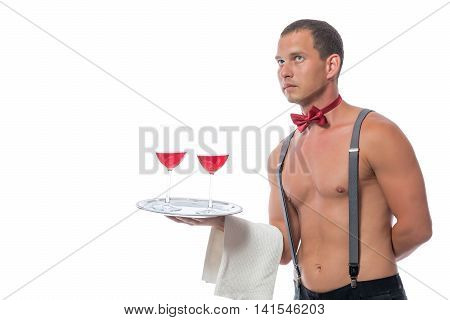 Sexy Stripper Gives A Red Wine On A Tray