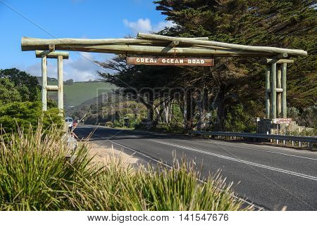 Wooden gate and street sign of the Great Ocean Road near Lorne Victoria Australia