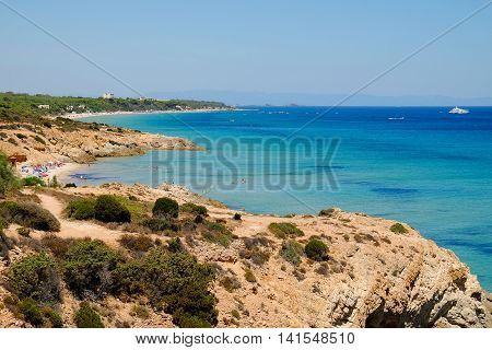 View on the beach in Pinus Village in Sardinia Italy.