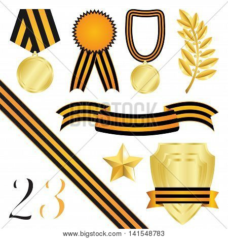 Collection Of Elements Of Design For Congratulations On 23 February And On 9 May Isolated On White Background Vector Illustration.