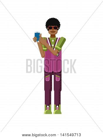 Stock vector illustration isolated of African American man dark hair, touch screen smartphone by hand, man shows screen of phone, sportsman, athletic T-shirt, sweatpants, flat style, white background