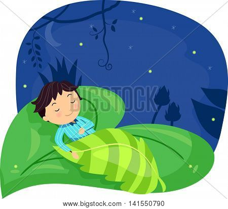 Illustration of a Little Boy Sleeping Soundly on a Giant Leaf