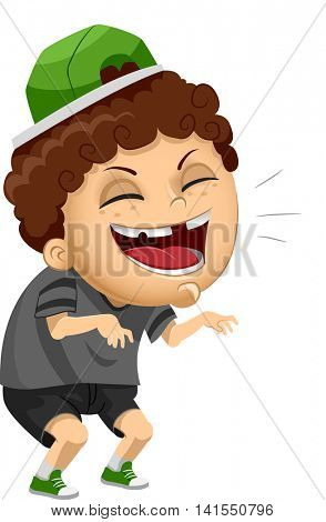 Illustration of a Naughty Male Bully Laughing Out Loud