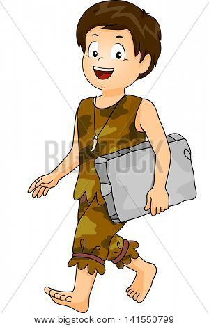 Illustration of a Little Boy Dressed as a Caveman Carrying a Block of Stone going to school