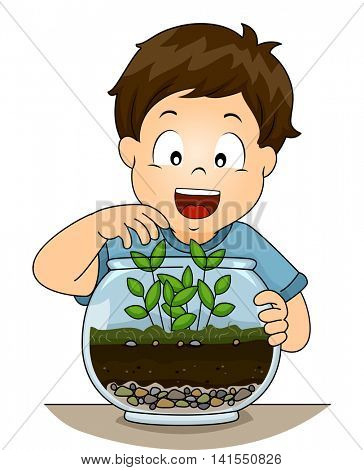 Illustration of a Little Boy Checking His Terrarium